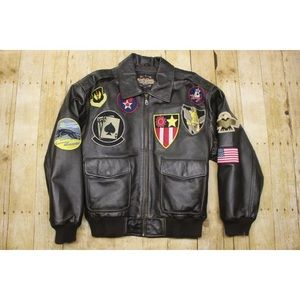 Mens M Guide Gear leather jacket patchwork bomber